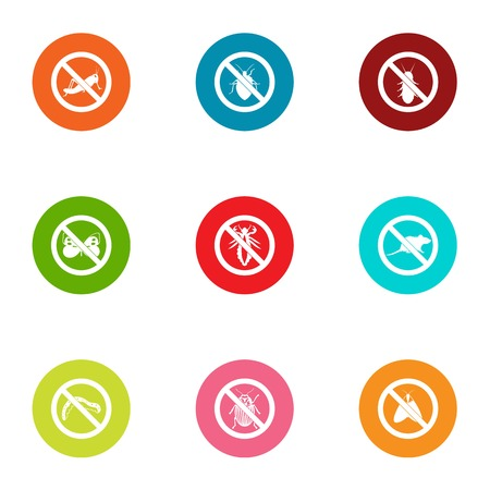 Protection from insect icons set, flat style Illustration