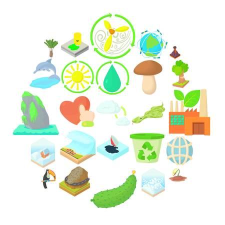 Pure nature icons set, cartoon style Illustration