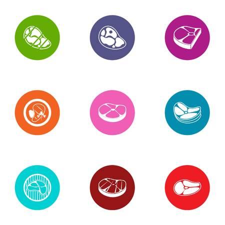 Beefsteak icons set, flat style Ilustracja