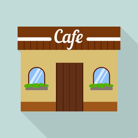 Cafe street shop icon, flat style Stock Illustratie