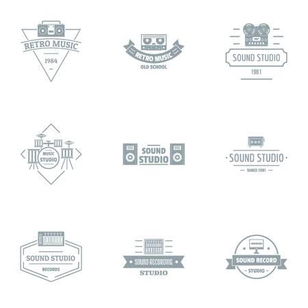 Sound studio logo set, simple style
