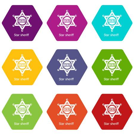 Star sheriff icons set 9 vector