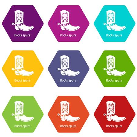 Boot spurs icons set 9 vector Vetores