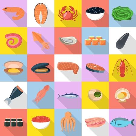 Seafood fresh fish food icons set, flat style