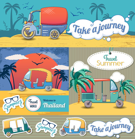 Tuk rickshaw Thailand banner set, cartoon style Illustration