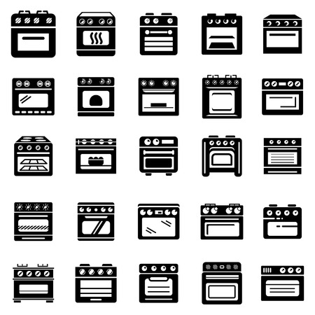 Oven stove fireplace icons set, simple style