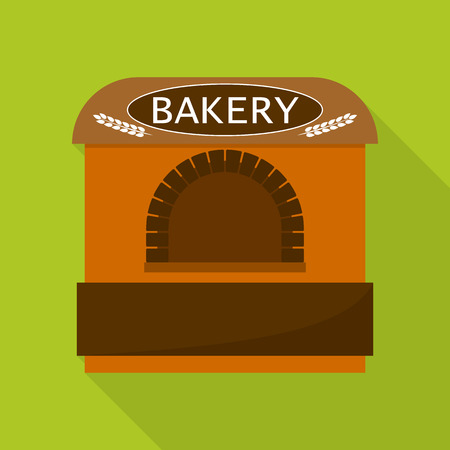 Bakery tent shop icon, flat style