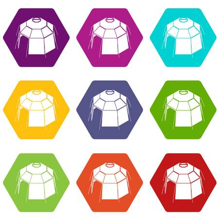 Hexagonal tent icons 9 set coloful isolated on white for web Ilustracja