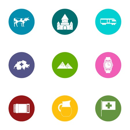 Quiet life icons set, flat style Banco de Imagens - 103105279