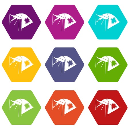 One person tent icons set 9 vector Stock Illustratie