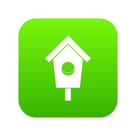 Birdhouse icon digital green