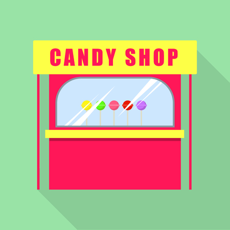 Candy shop icon, flat style