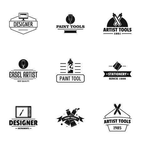 Designer tool logo set, simple style
