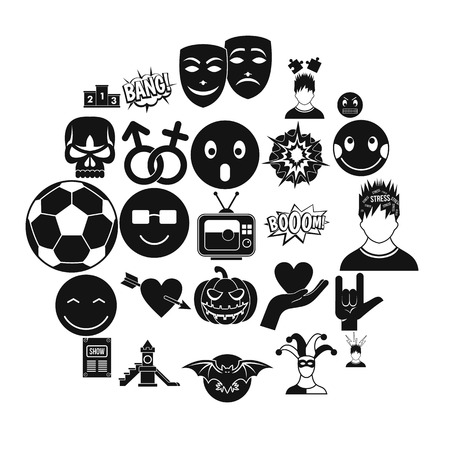 Soulful icons set, simple style