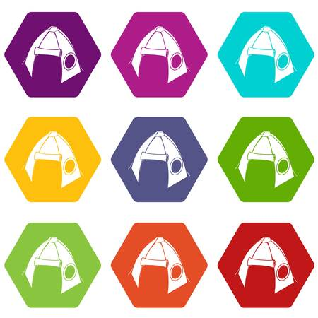 Tribal tent icons set 9 vector