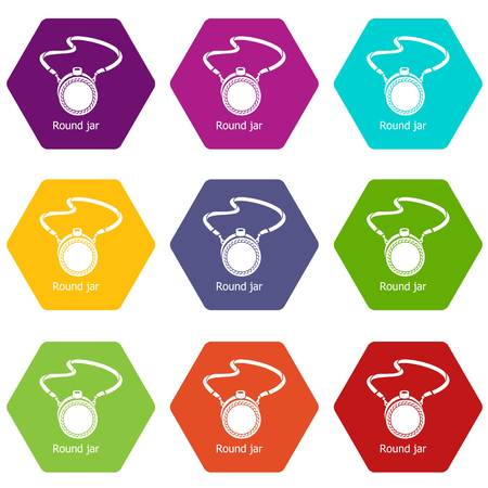 Flask icons 9 set coloful isolated on white for web