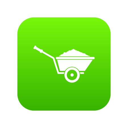 Garden wheelbarrow icon digital green Illustration