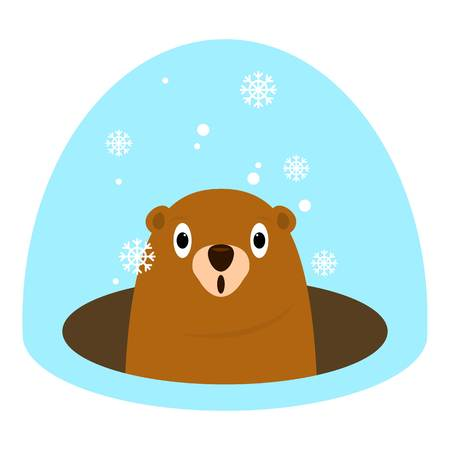 Groundhog at winter icon, flat style