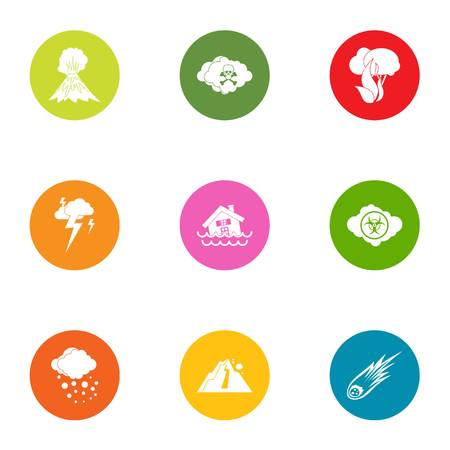 Natural intervention icons set, flat style