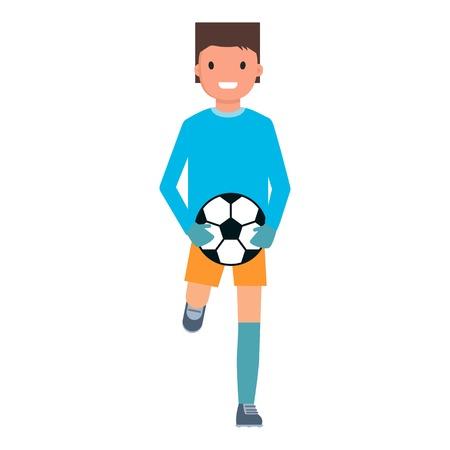Running goalkeeper icon, flat style Illustration
