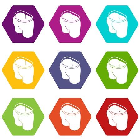 Sport short icons 9 set coloful isolated on white for web Ilustração