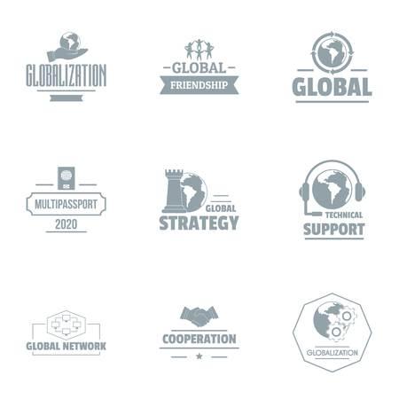 Conjunto de logotipos de soporte industrial, estilo simple