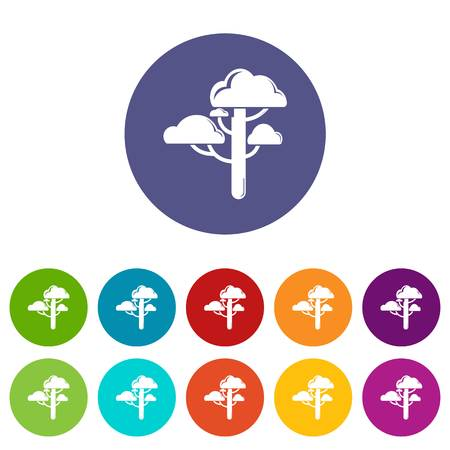 Cloud tree icons set vector color