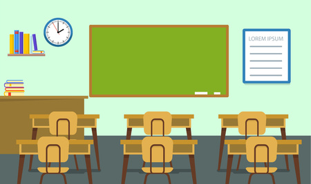 Empty classroom background, flat style Banque d'images - 103128377