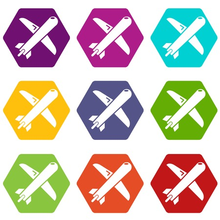 Plane icons 9 set coloful isolated on white for web
