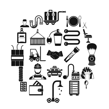 Production icons set, simple style  イラスト・ベクター素材