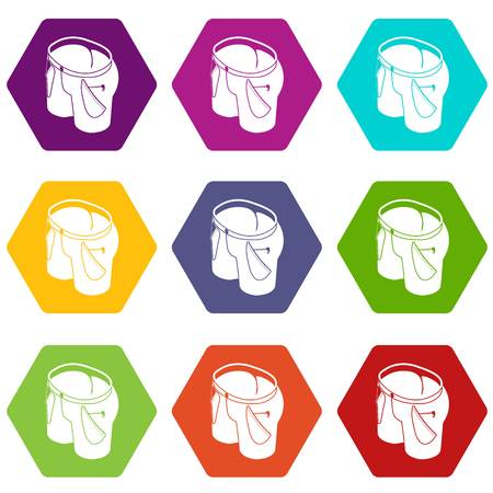 Woman jeans icons 9 set coloful isolated on white for web