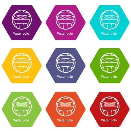 Water polo icons set 9 vector