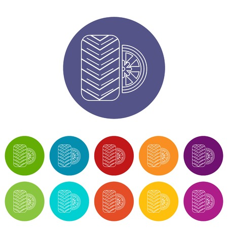 Tire icons set vector color Illustration