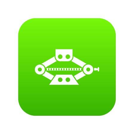 Red scissor car jack icon digital green