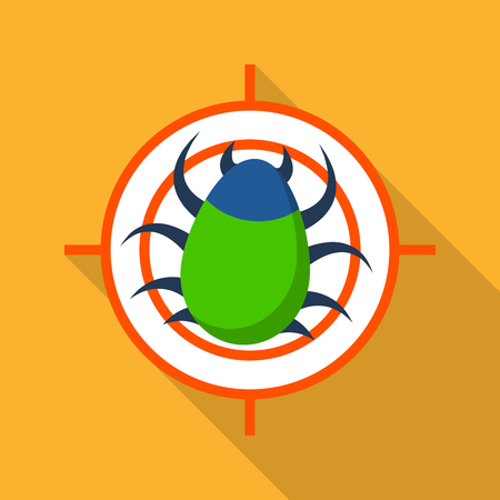 Target virus internet icon, flat style Illustration