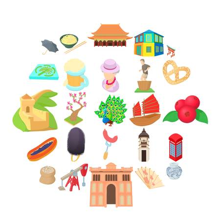 Culture of communication icons set, cartoon style