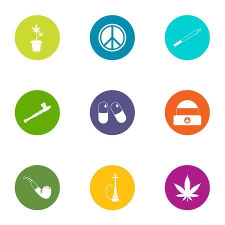 Easy life icons set, flat style Illustration