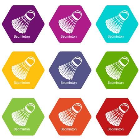 Badminton icons set 9 vector