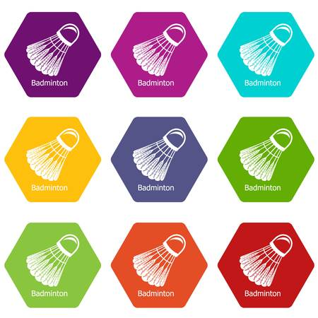 Badminton icons set 9 vector