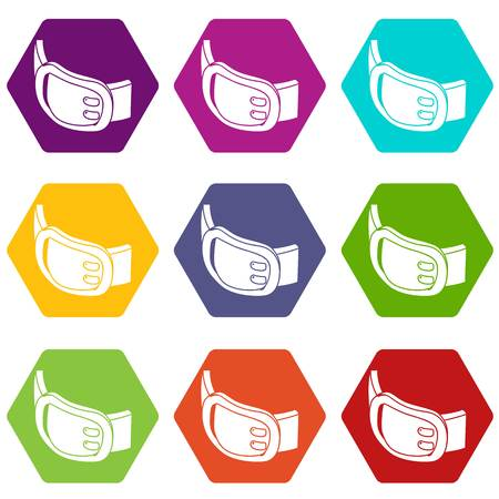Double buckle belt icons set 9 vector  イラスト・ベクター素材