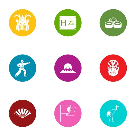 Struggle icons set, flat style Illustration