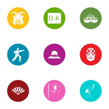 Struggle icons set, flat style 矢量图像