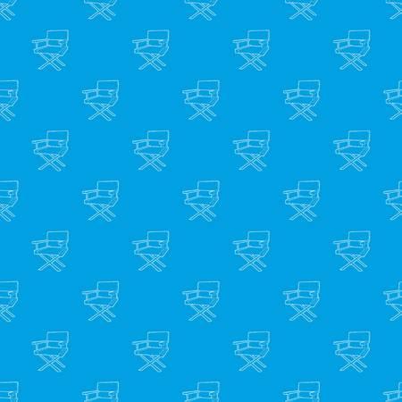 Film director chair pattern vector seamless blue Illustration