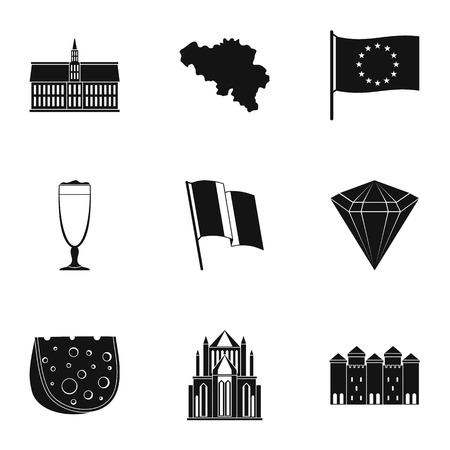 Ger icons set, simple style