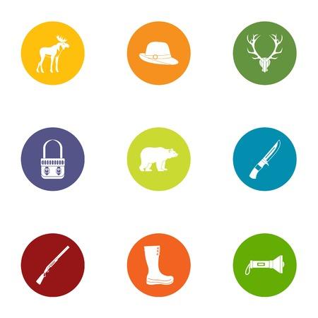Forest walk icons set, flat style Illustration