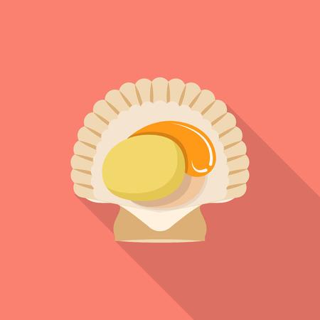 Sea shell icon, flat style