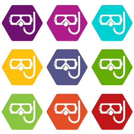 Diving mask snorkel icons 9 set coloful isolated on white for web Vectores