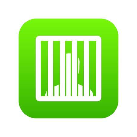 Man behind jail bars icon digital green