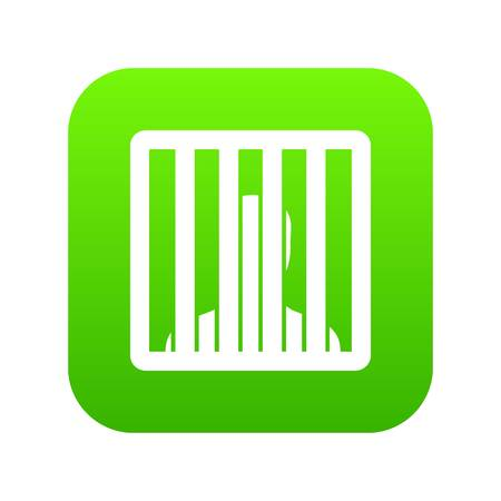 Man behind jail bars icon digital green