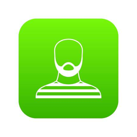 Bearded man in prison garb icon digital green